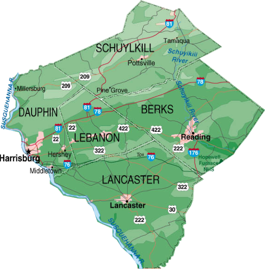 A photo of the five local counties that we serve by default.